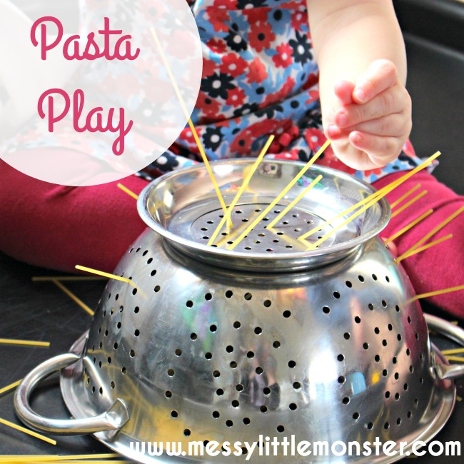 Pasta play. Simple play activities for babies toddlers and preschoolers. Use dried pasta/ spaghetti to work on fine motor skills.