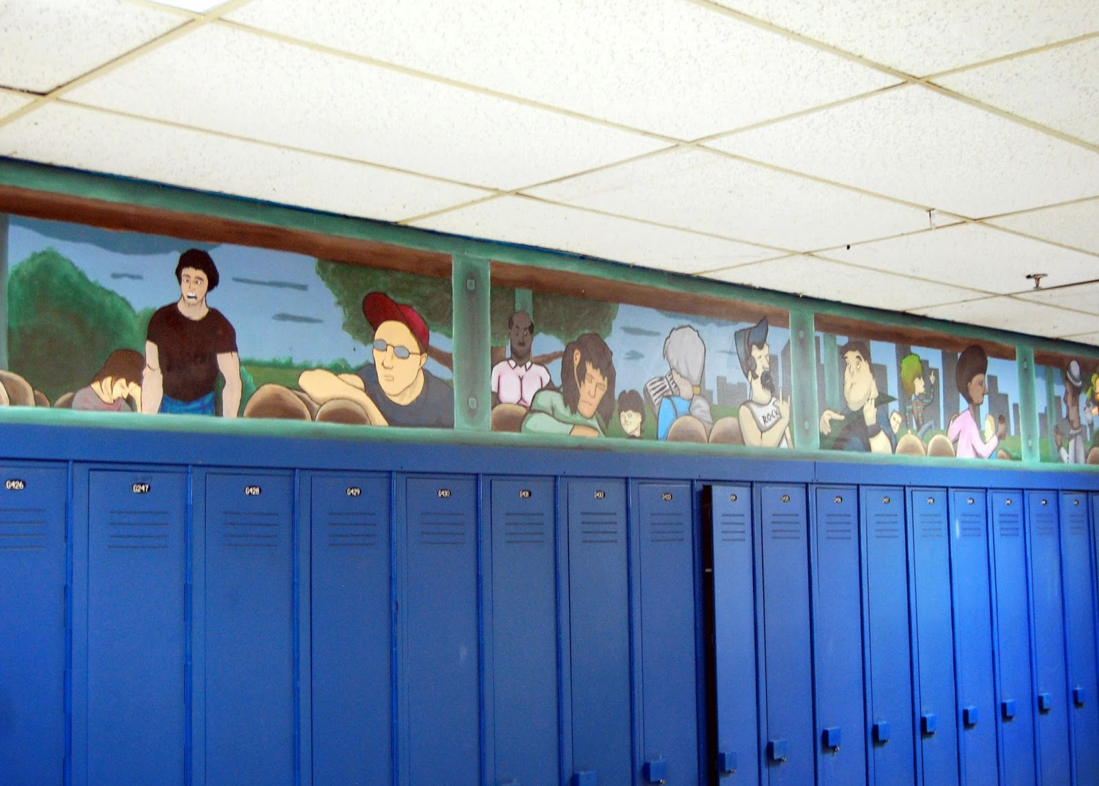 student murals above the lockers