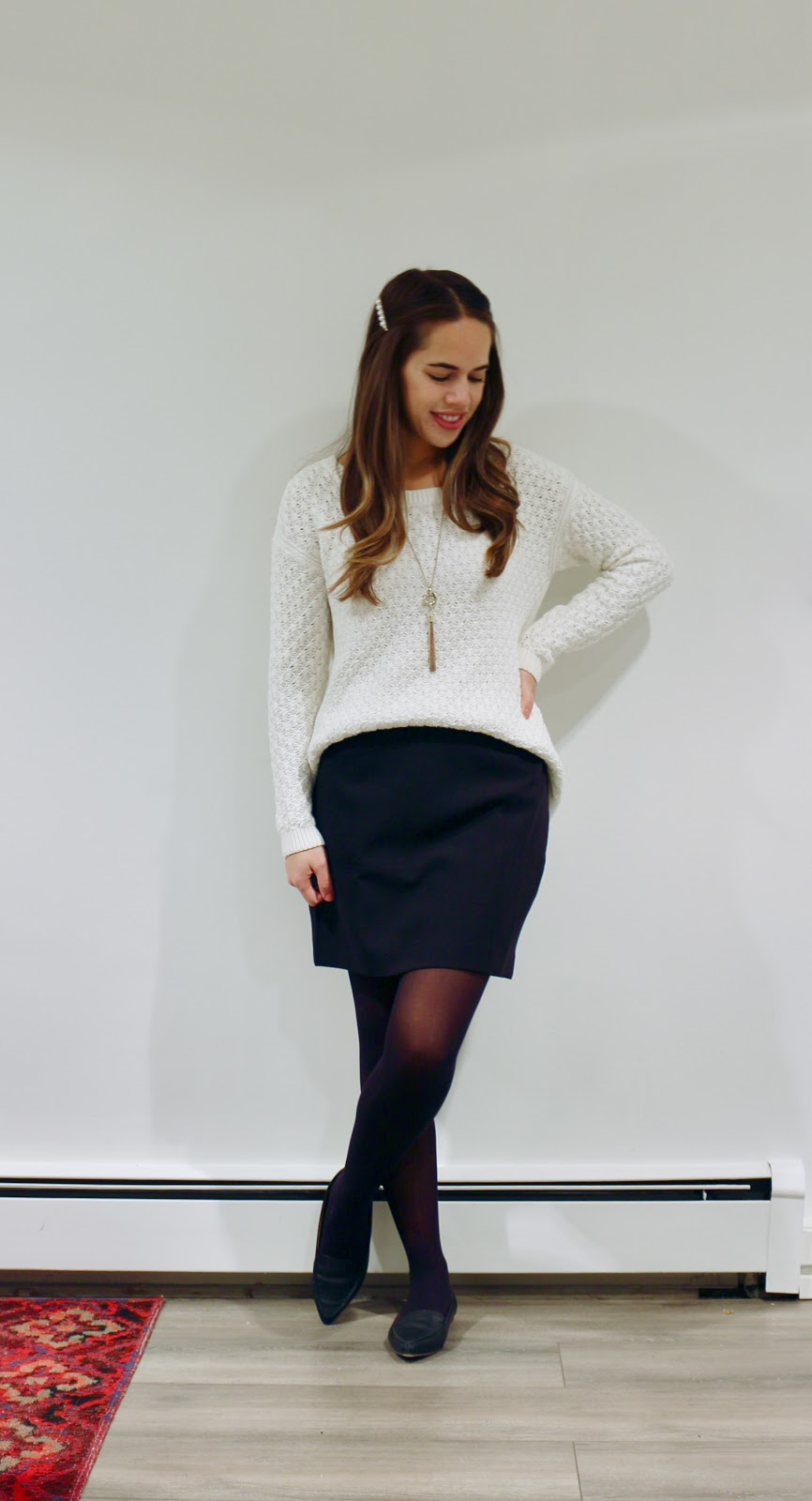 Jules in Flats - Oversize Knit Sweater with Mini Skirt (Business Casual Fall Workwear on a Budget)