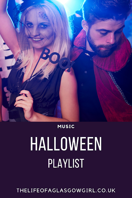 Pinterest image for The ultimate Halloween Playlist - The perfect playlist for Halloween and Halloween parties on Thelifeofaglasgowgirl.co.uk