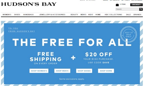 Hudson bay free shipping