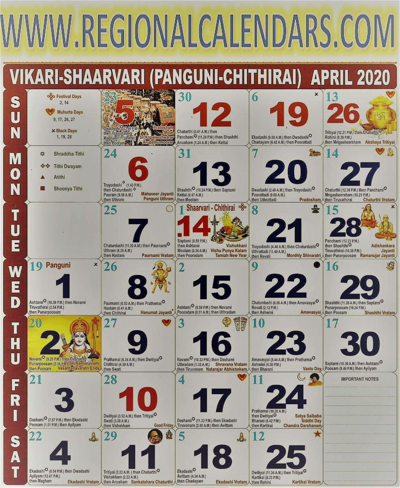 Tamil Calendar. April,2020.