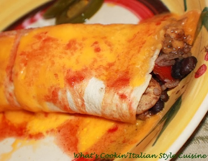 black bean and rice stuffed tortillas with melted cheese and jalapeno peppers