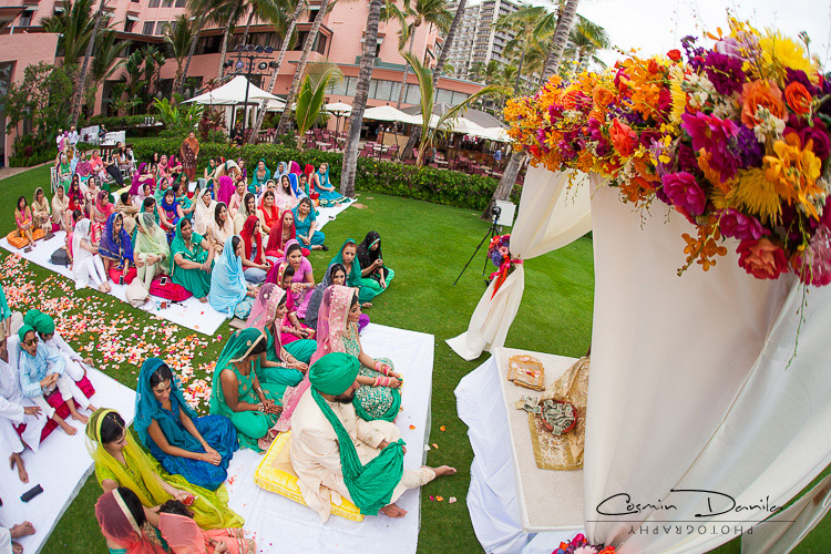 The Flower Instincts Kick In Late Towards End Of Cermony Hawaii Destination Wedding Photography Honolulu Sikh