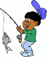 Cartoon image of young boy with a fish on the hook of his rod.