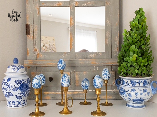 chinoiserie china cache pot boxwood topiary Easter eggs