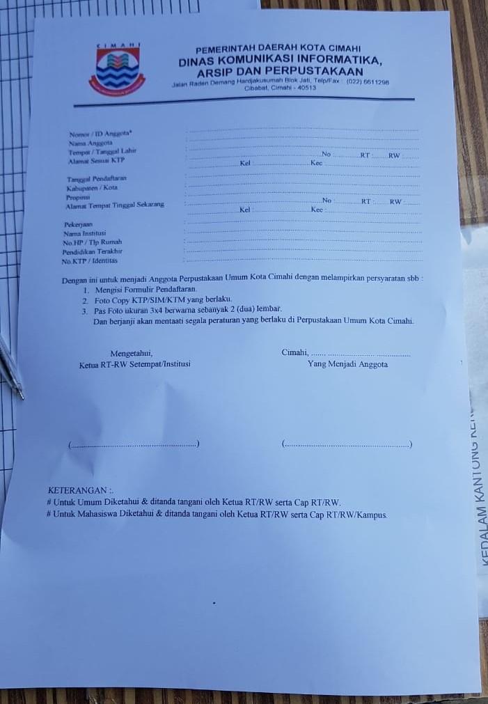 Formulir Pendaftaran Perpustakaan Umum Kota Cimahi
