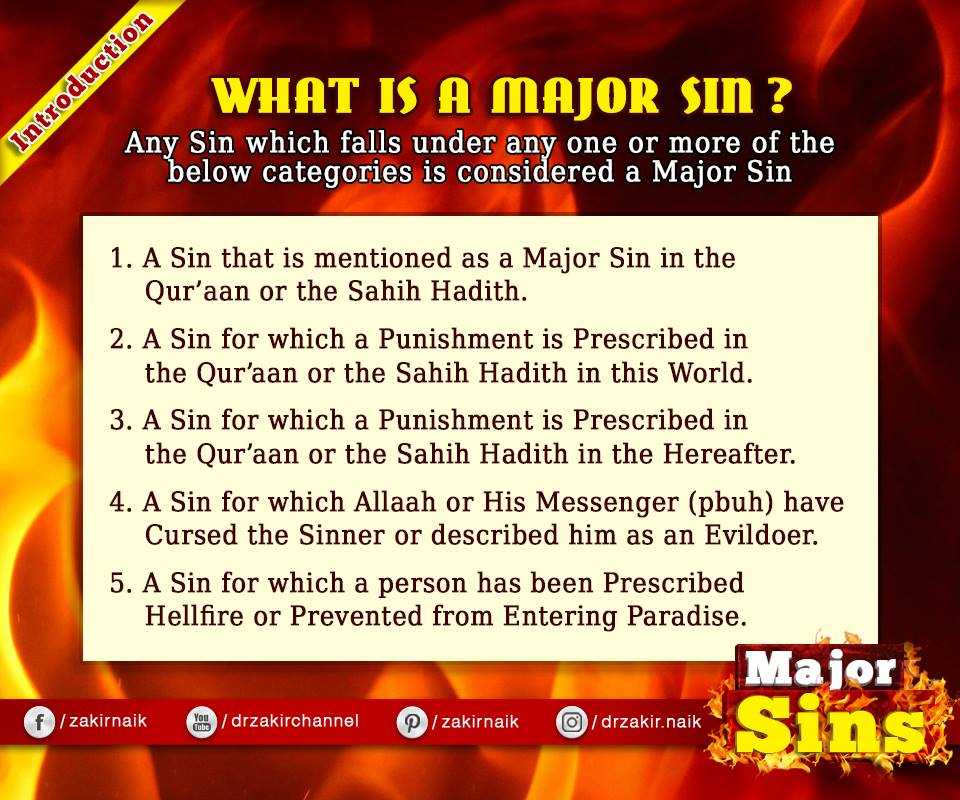 Major Sins in Islam | Kabira Gunah in the light of Quran & Sunnah
