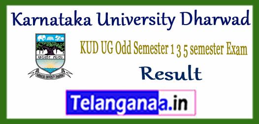 KUD Karnataka University Dharwad UG 1st 3rd 5th Odd Semester Result 2017-18