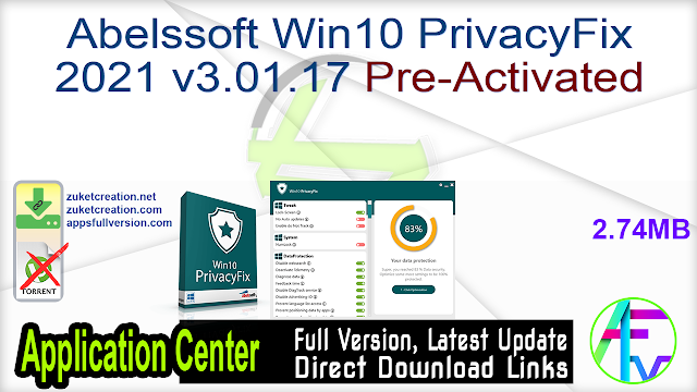 Abelssoft Win10 PrivacyFix 2021 v3.01.17 Pre-Activated