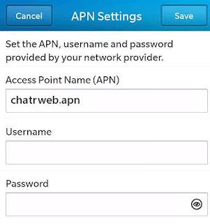 Chatr Blackberry LTE APN Settings Canada