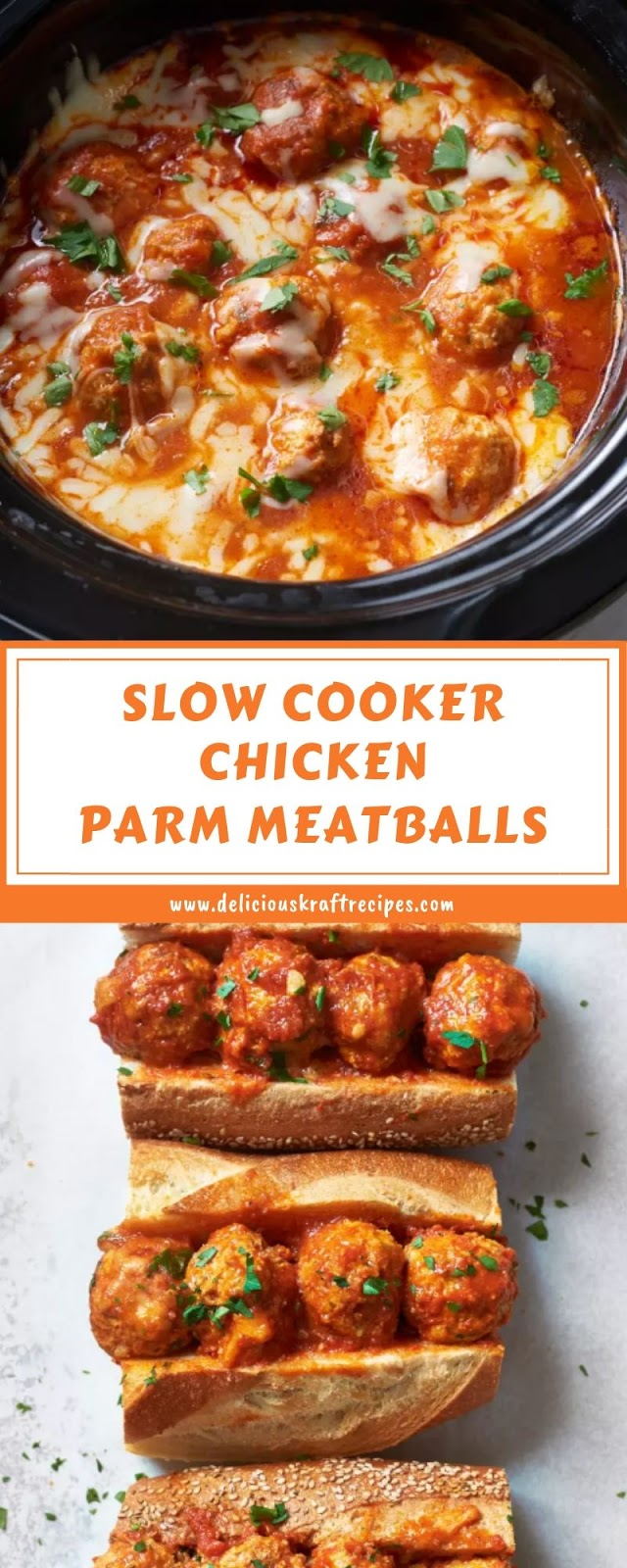 SLOW COOKER CHICKEN PARM MEATBALLS