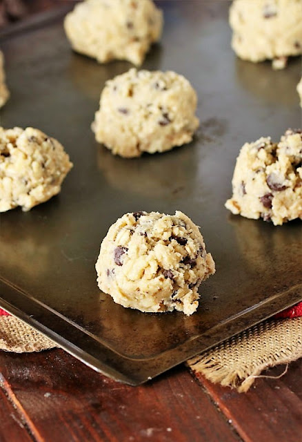 DoubleTree Chocolate Chip Cookie Dough Balls on Baking Sheet Image