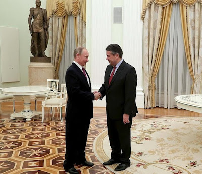 President Putin with Minister of Foreign Affairs and Vice Chancellor of Germany Sigmar Gabriel.