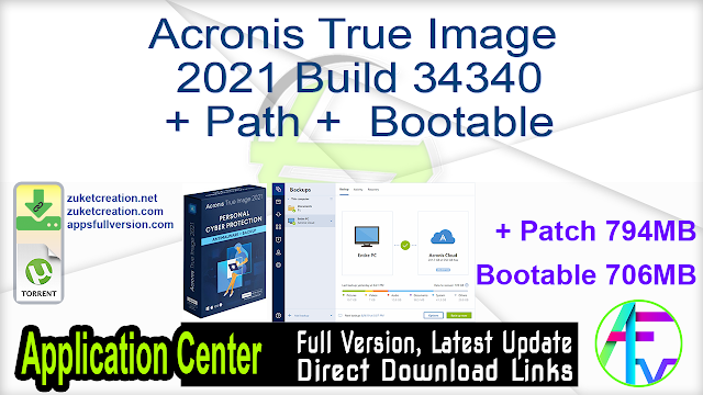 Acronis True Image 2021 Build 34340 + Path +  Bootable