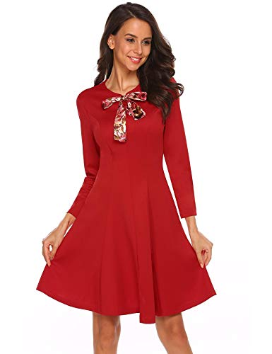 AMAZON -  70%OFF Women's Vintage Long Sleeve Lace Up Bow Tie Fit and Flare Dress