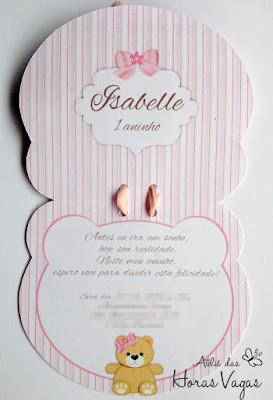 convite artesanal infantil personalizado formato cabeça urso ursinho floral delicado provençal menina ursinha ursa