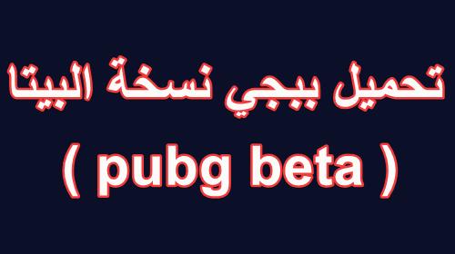 تحميل ببجي بيتا ( pubg beta )