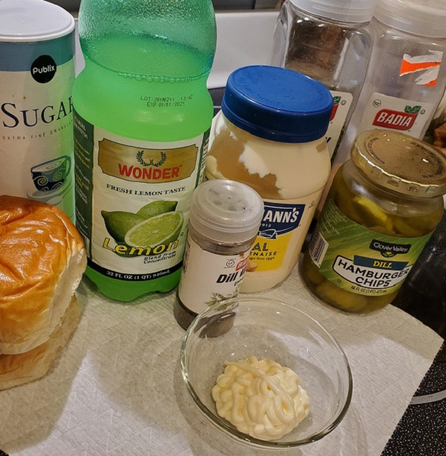this is mayonnaise and all ingredients to make a homemade tartar sauce
