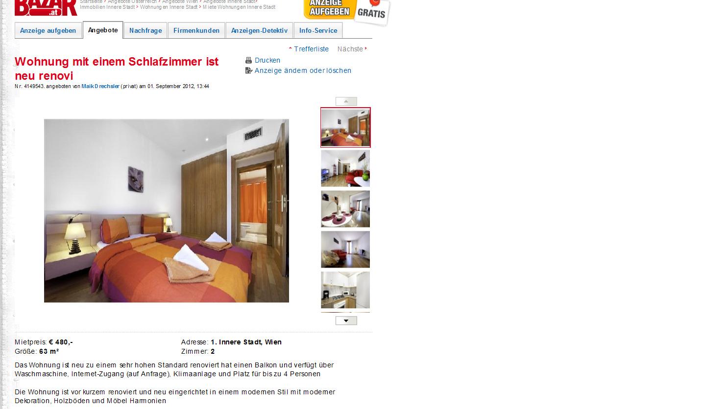 Wohnung Mit Einem Schlafzimmer Ist Neu Renoviert. Lindengasse 45, 1070 Wien,  Österreich Anzeigennummer 409699601