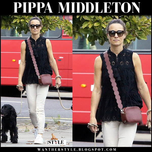 Pippa Middleton in black sleeveless embroidered top kate spade and cream jeans celebrity style august 23 2017