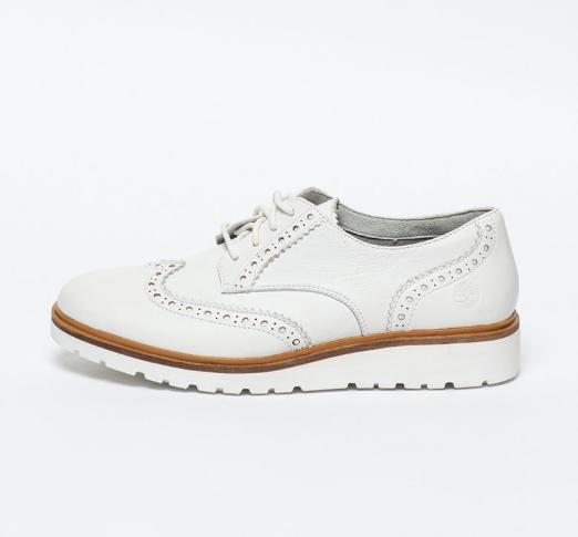 Timberland Pantofi brogue de dama albi din piele naturala