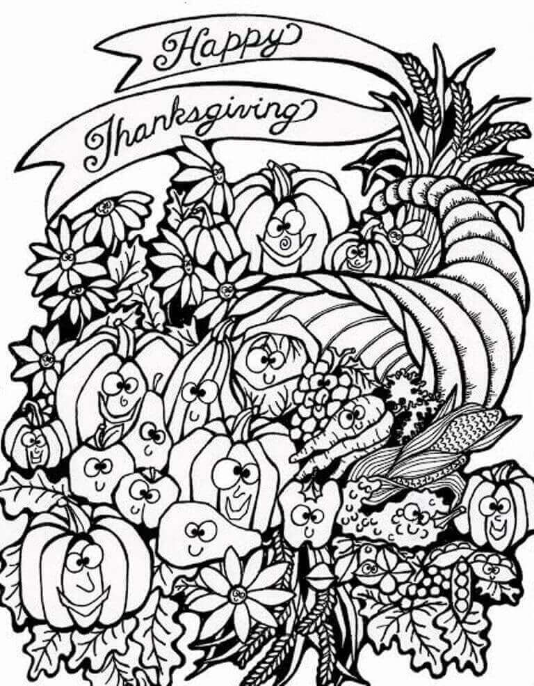It's just an image of Divine adult coloring pages thanksgiving