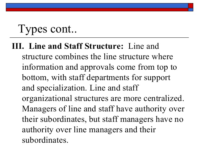 line and staff authority Line and staff authority and decentralization - introduction to management | courseware - ibs center for management research ,the chapter discusses about authority,which is defined as the power to make decisions which guide the actions of others, power, on the other hand, is the ability of individuals to influence the beliefs and actions of.