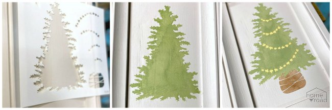 Easy to Make Advent Calendar with a stenciled tree