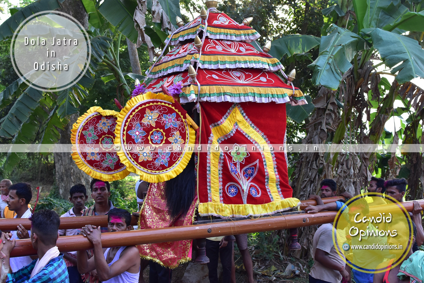 """Bije Pratima"" or representative idol of Sri Krishna is taken for rounds in palanquins (""Vimaana"")"