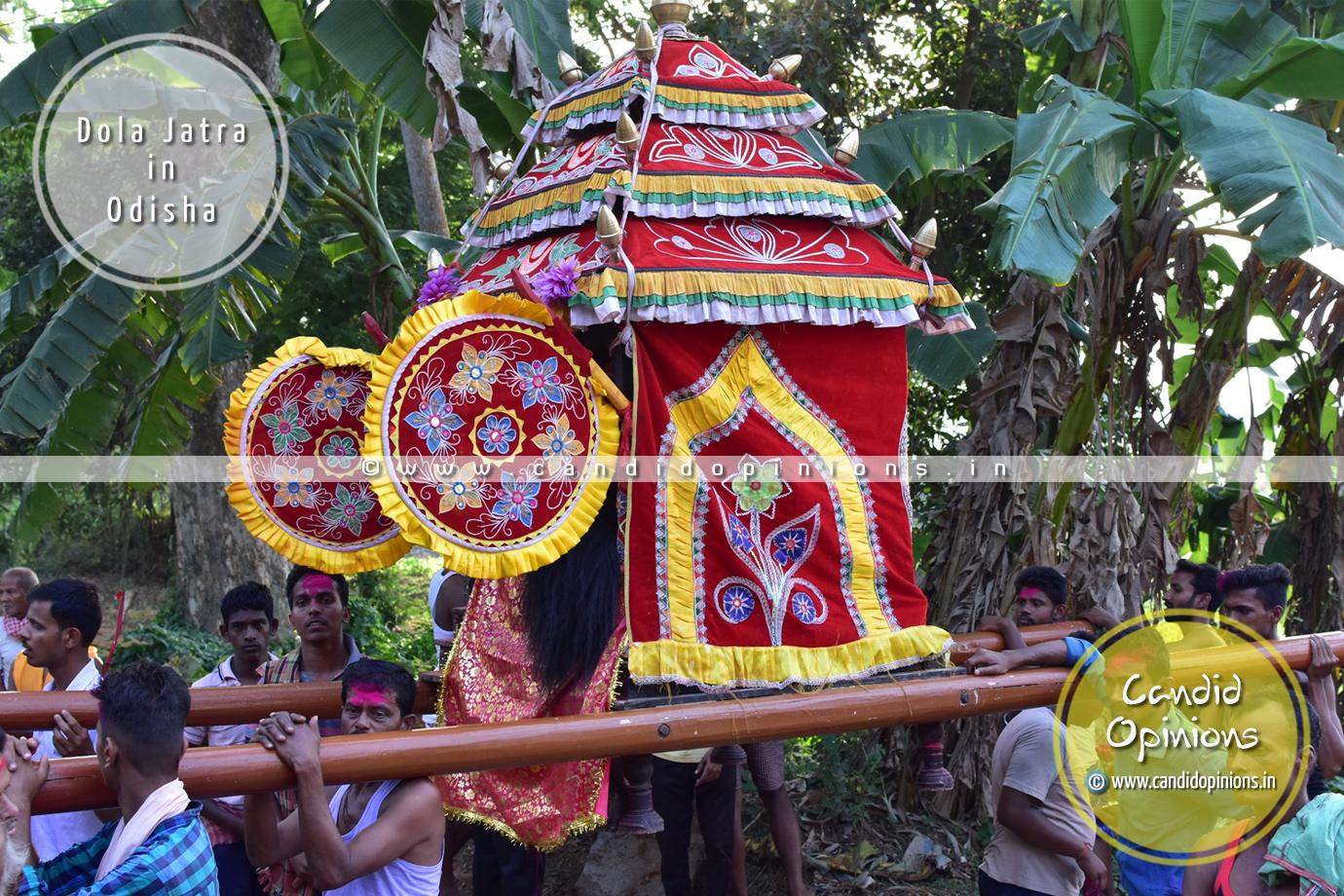 """Bije Pratima"" or representative idol of Sri Krishna is taken for rounds in palanquins (""Vimaana"")"