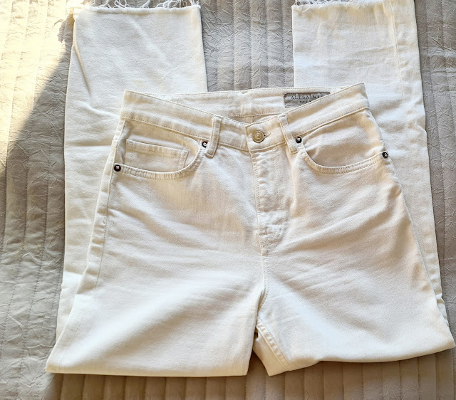 All Saints Eden high waist kick flare white jeans
