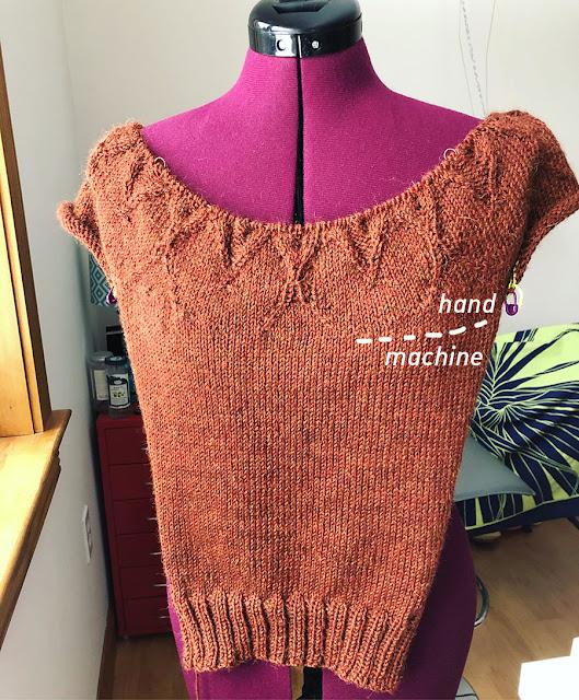 Hand knit Machine knit hybrid front of Isabel yoke sweater, knit by Dayana Knits