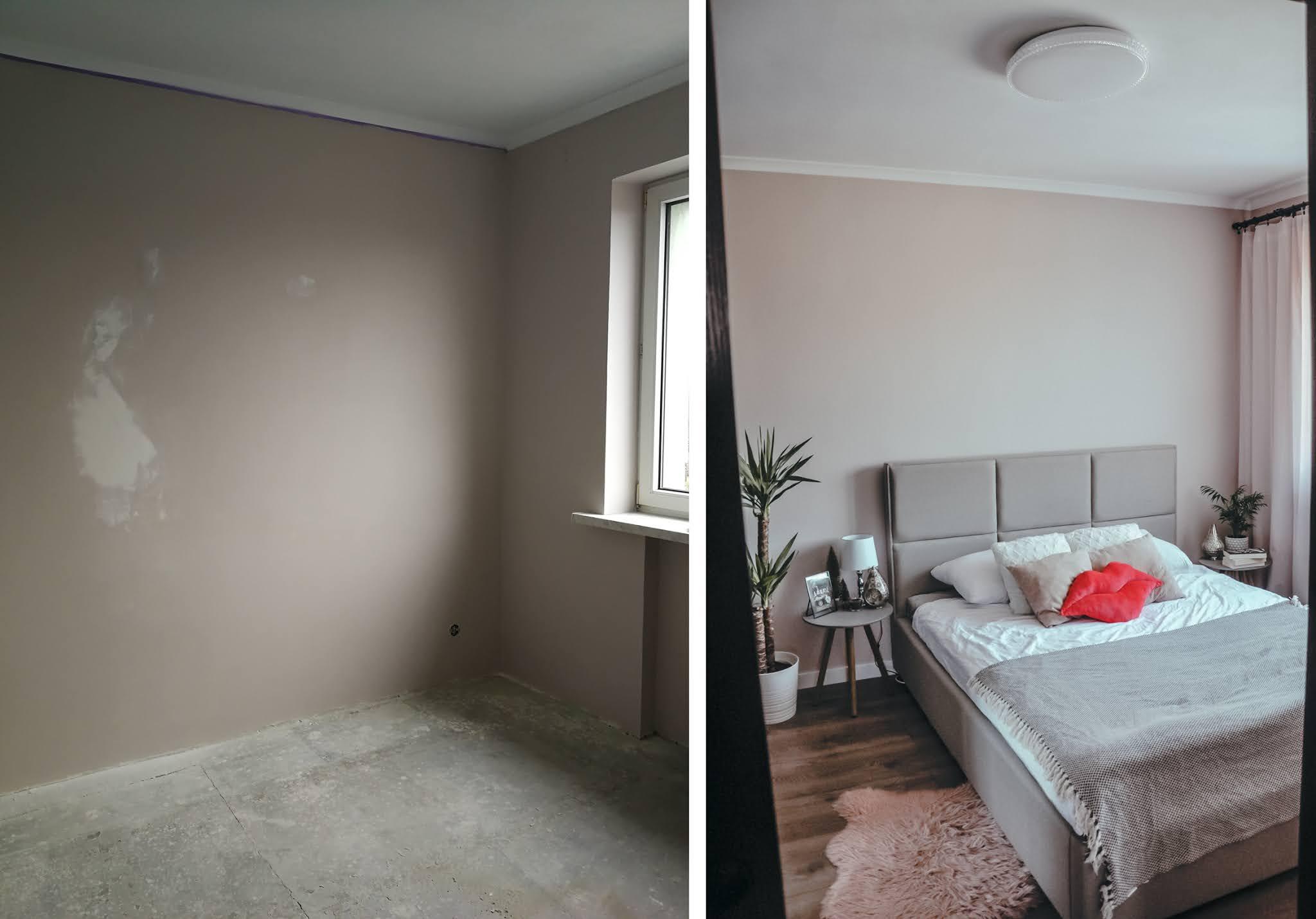 nowoczesna sypialnia przed i po