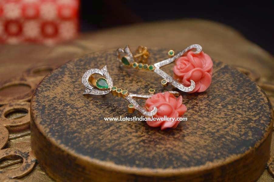 Coral Rose Diamond Earrings