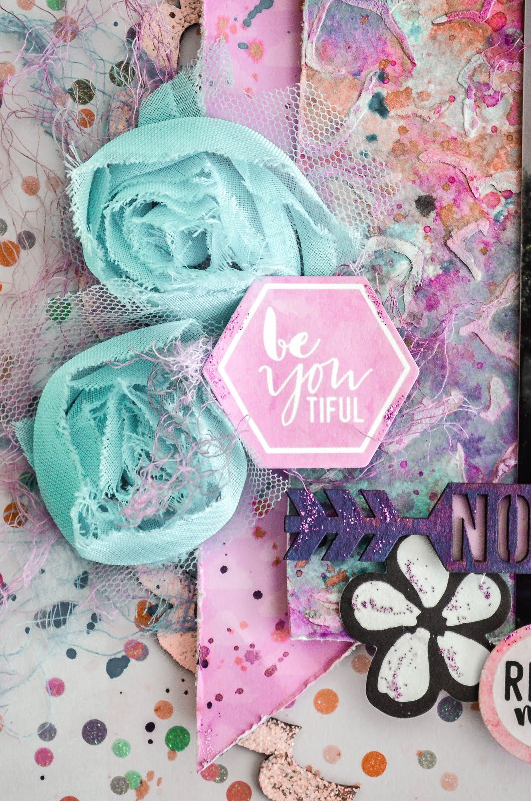Pastel scrapbooking layout for Scrap Our Stash Design Team featuring chipboard and die cuts in pink, blue, and lavender purple