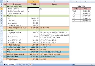 Menghitung PPH 21 dengan Excel
