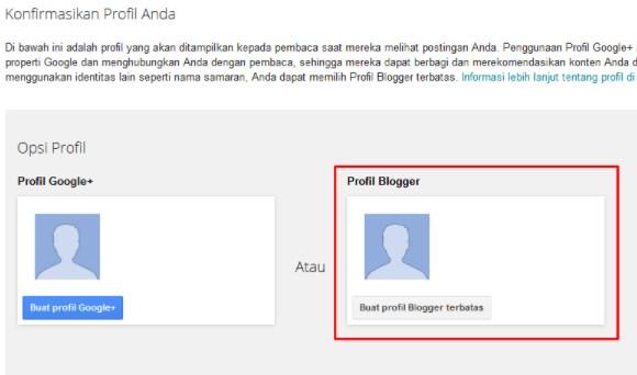 Buat Blog dengan Profirl Blogger