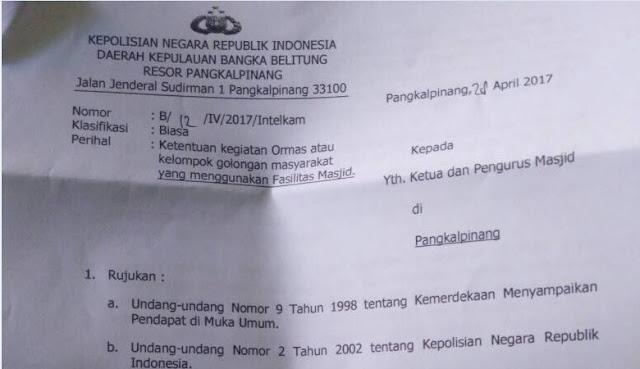 Ini Surat Edaran Kepolisian Tentang Perijinan Kajian di Masjid daerah Pangkalpinang