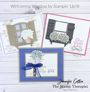 Welcoming Window by Stampin' Up!®.  Three cards from the weekly facebook live.  Measurements and supply list on the blog.  #StampinUp #StampTherapist