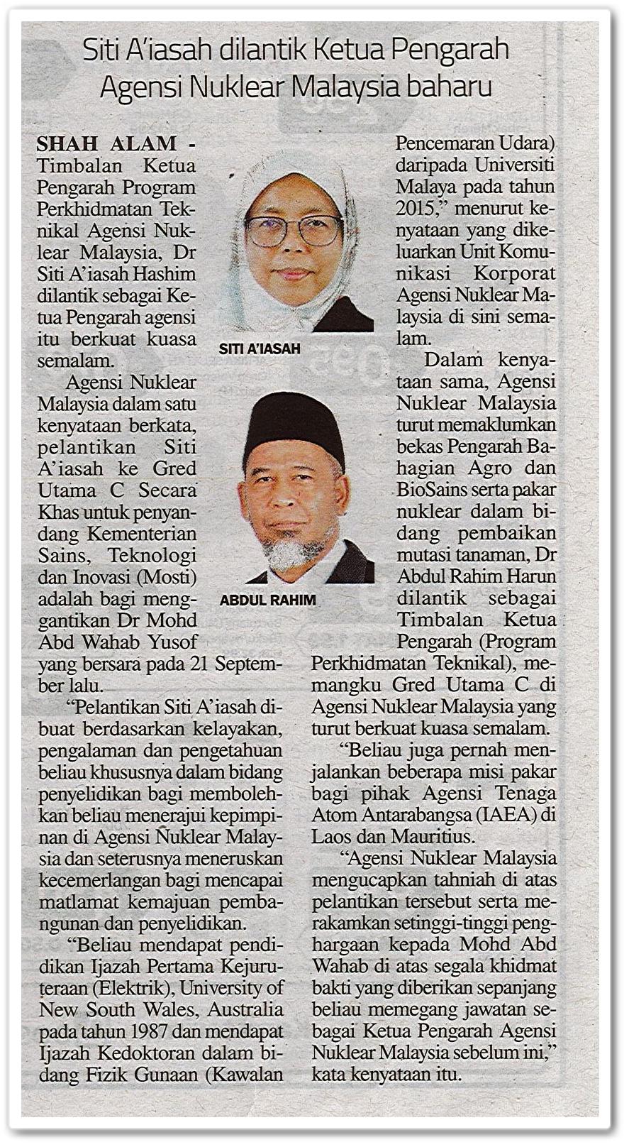 Siti A'iasah dilantik Ketua Pengarah Agensi Nuklear Malaysia baharu - Keratan akhbar Sinar Harian 9 Oktober 2020