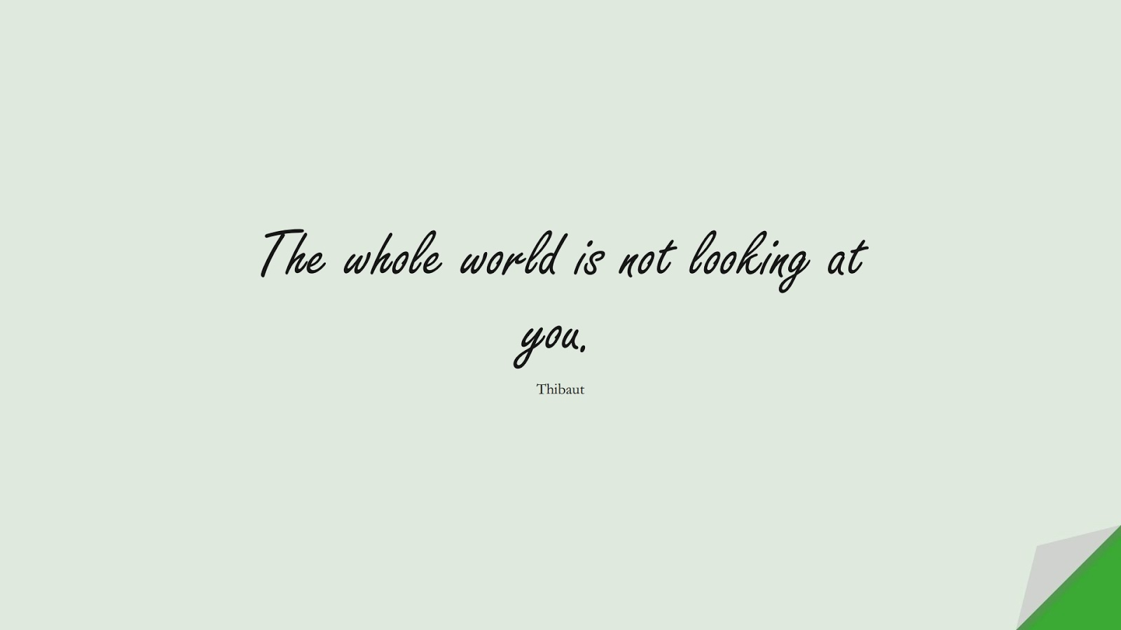 The whole world is not looking at you. (Thibaut);  #StressQuotes