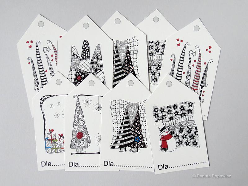 Świąteczne etykiety (bileciki) prezentowe do wydrukowania