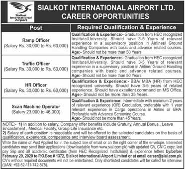 Latest February jobs in Sialkot International Airport  For Ramp Officer, Traffic Officer and Others  2020