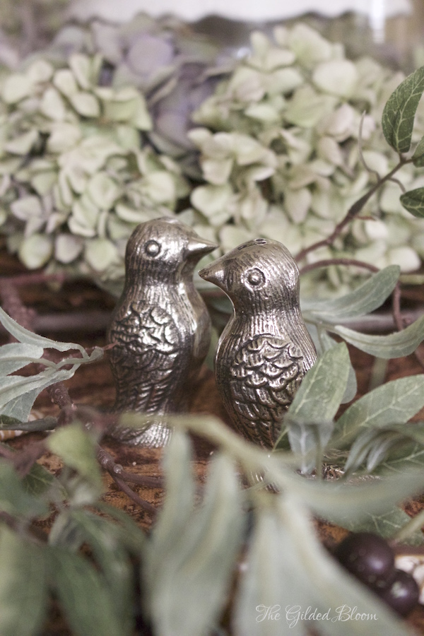 Pewter Bird Salt and Pepper Shakers- Creating a Mix-and-Match Thanksgiving Table- www.gildedbloom.com
