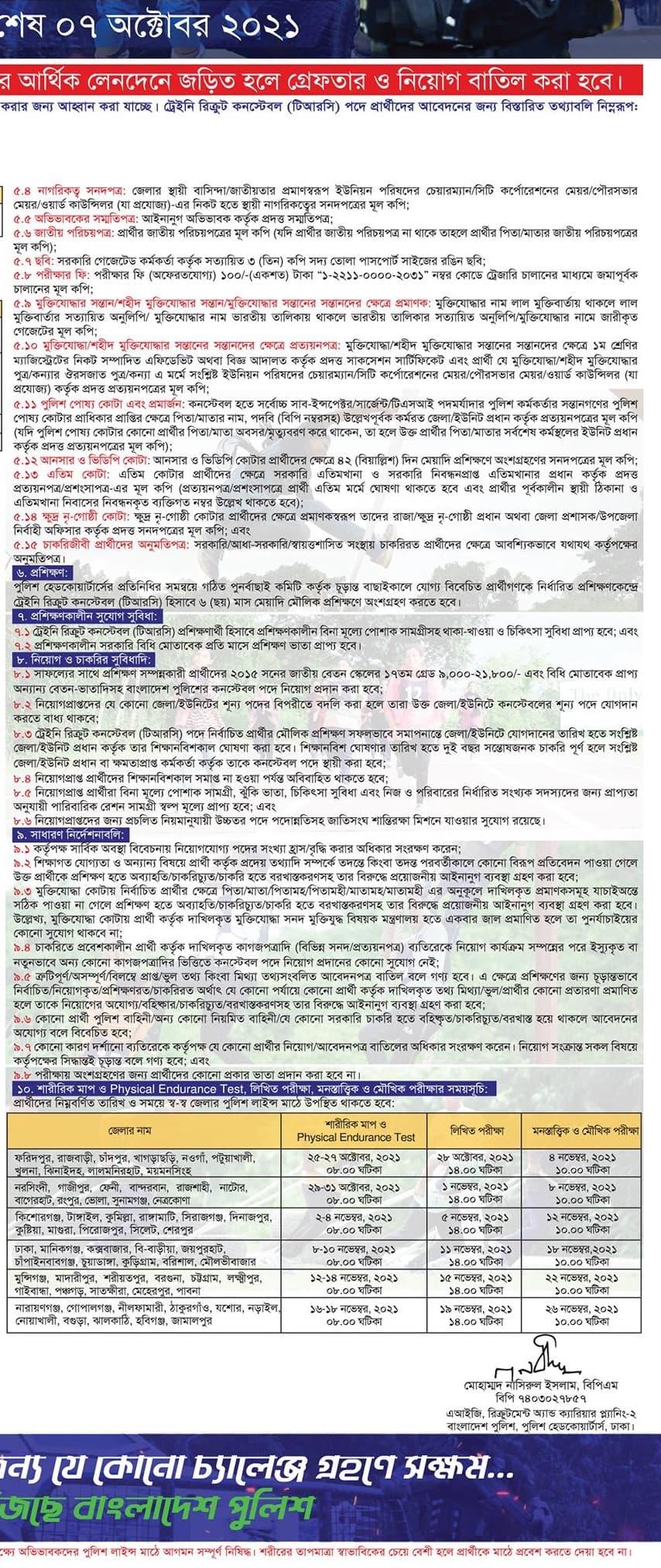 বাংলাদেশ পুলিশ নিয়োগ বিজ্ঞপ্তি