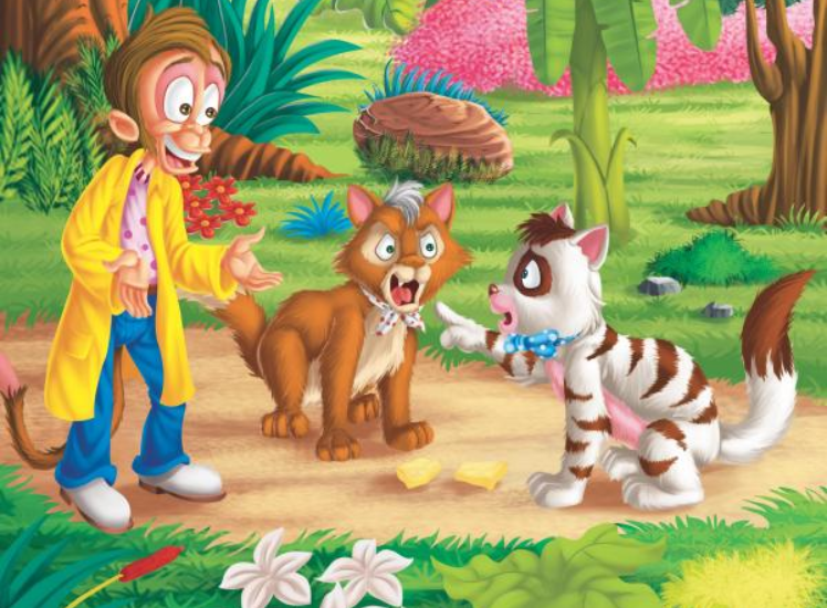 The Monkey And The Two Cats : Short Moral Stories For Kids