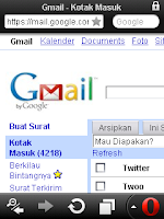 buka Gmail full di hape ponsel opera mini