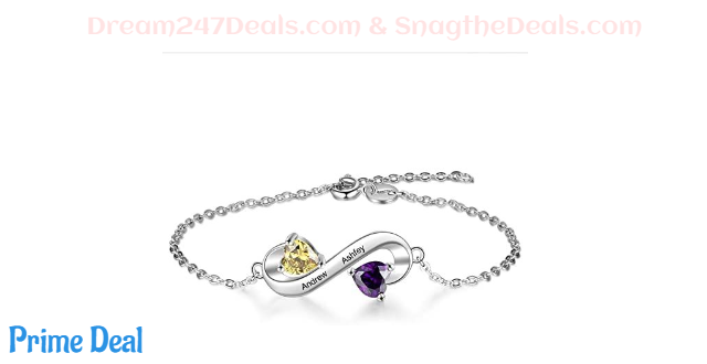 65% off Personalized Birthstone Bracelet Engraved Names