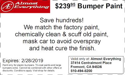 Discount Coupon $239.95 Bumper Paint Sale February 2019